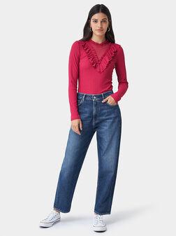Пуловер с дълги ръкави и декоративен дeтайл - 1